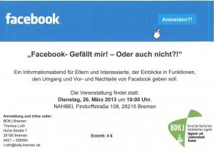 Facebook Veranstaltung 26.03.2013